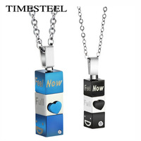 FSGX482 Fashion Couple Necklace Rotatable Blue/Black/Rose Gold Retail Wholesale 316L Stainless Steel Couple Jewelry