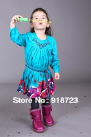 2013 new autumn and winter children clothing girls Beautiful blue  printed long-sleeved dress flowers fashion brand hiqh quality