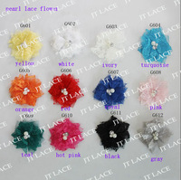 "2.5"" lace pearl flower 12 colors for selection FREE SHIPPING"