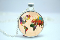 10pcs/lot World Map, Rainbow Multicoloured Map Jewelry, Map Necklace Glass Cabochon Necklace