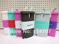10pcs/lot New Arrival 3D coffee cup case silicon stand cover for samsung Note3 N9000 with good retailed package,Free Shipping