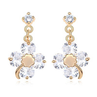 Simple design fashion clover/flower women jewelry/ crystal 18k real gold planted copper earrings WL0564-white/pink/red