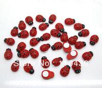 200Pcs Painted Ladybug Self-Adhesive Wood Craft Cabochon Scrapbooking Decoration 9x13mm