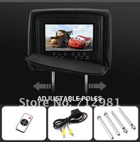 Leather Cover 2x 7 Inch Car DVD Player LCD Monitor Headrest Bult-In Speaker FM/IR transmitter/Video/Audio Input$Output
