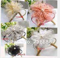 Angel baby Headwear Baby Girl Vintage Lace Flower Headbands with a pearl diamond Toddler Headbands Newborn Headbands  20pcs.lot