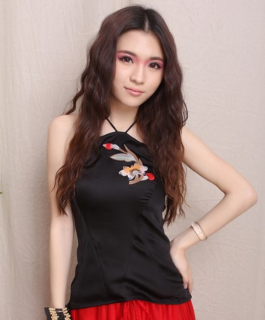 National trend women's chinese style exquisite embroidered halter-neck slim spaghetti strap