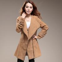 2013 female winter outerwear women's slim long-sleeve suit collar zipper solid color woolen coat
