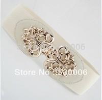 2013 New Popular Fashion Women&Girls Metal Cutout Gold Buckle Elastic Waist Belts Wide Cummerbunds--5 Colors