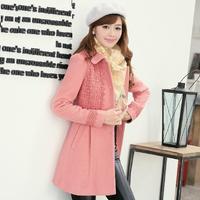2013 autumn and winter medium-long women's bow long-sleeve woolen outerwear overcoat woolen coat women's
