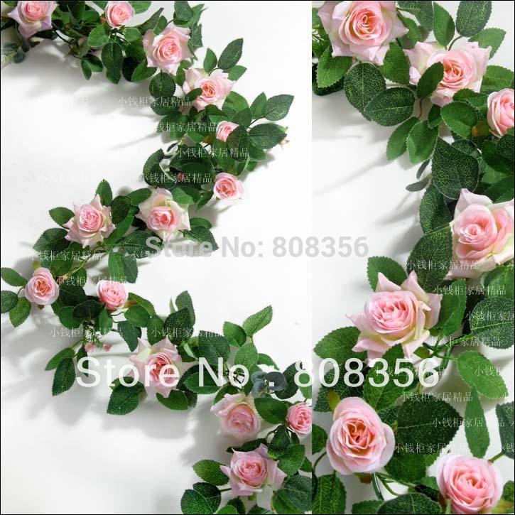8M Artificial Fabric Silk Chinese Rose Garlands Vine Flower Wedding