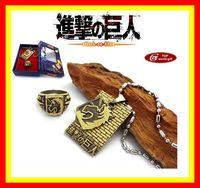 Shingeki no Kyojin Attack on Titan Necklace ring Set Cosplay Scouting Legion Pendant New Gift 05
