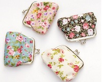 Free shipping women Fashion Print Little rose Cotton Fabric Coin Purses