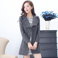 2013 autumn and winter woolen women's outerwear overcoat trench brief fashion elegant turn-down collar medium-long