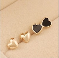 New Fashion love heart small stud earrings for women gold plated jewelry for women 2 pairs set wholesale