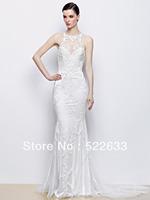 2014 Exquisite Charming Mermaid Halter Lace Brush Train Tulle Plus Size Luxury Wedding Dresses China Free Shipping