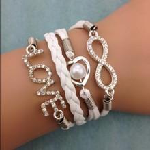 3pcs infinity bracelet, heart shaped pearls bracelet,wedding bracelet love bracelet,leather bracelt, 3022  mini order 10$(China (Mainland))