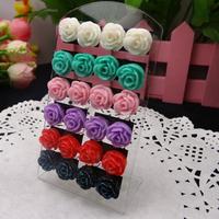 Wholesale Rose powder Stud Earrings resin flower earrings 120pairs/lot Y001