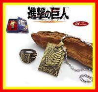 Shingeki no Kyojin Attack on Titan Necklace ring Set Cosplay Scouting Legion Pendant New Gift 06