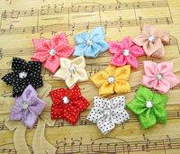 Free shipping 50pcs Mixed Rhinestone Satin Ribbon Flowers DIY Craft Wedding Applique For Hair Accessories