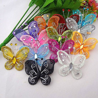 Free Shipping 30pcs Mixed Organza Butterfly Flowers Applique DIY Craft Wedding Decoration For Hair Accessories