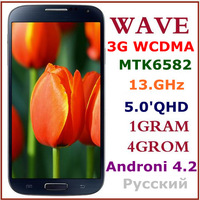 "Hot Sale New and Original 3G MTK6582 Quad core 1G RAM+4G ROM Android 4.2 Mobile smart phone 5"" GQHD Screen Multi Language"