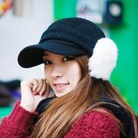 Autumn and winter baseball cap remove the rabbit fur earmuffs women's winter cap