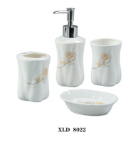 Beautiful 4 Pieces Ceramic Bathroom Accessories Set Vanity Dispenser WL22