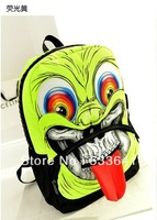 Wholesale Free shipping fashion nylon monster contrast color bag grimace backpack large zipper school bag 3pcs/lot