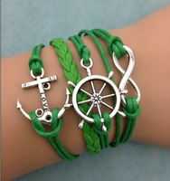 3pcs infinity bracelet,handmade bracelet,rudder and anchor charm bracelet,gift for friend,charm bracelet 3080 mini order 10$