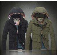 Multi-pocket detachable cap thick warm coat solid color men's baseball jacket hoodies Free shipping high quality