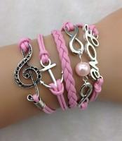 3pcs infinity bracelet,handmade bracelet,pearl bracelet,love and anchor bracelet,music symbol  charm3203  mini order 10$