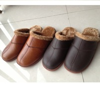 real leather slippers,Hot sale new arrival! 2014Fashion shoes warm fur casual style for lady & man.Free shipping!Large size35~45