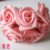 Artificial rose artificial flower bountyless materials powder flower pe foam flowers 5cm rose 72pcs/lot (12 bundles)