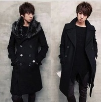 Male trench winter woolen overcoat slim male wool collar trench teenage outerwear black