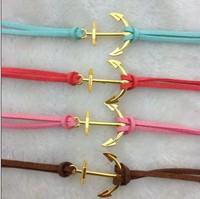 4pcs Pretty retro gold 3d anchor  hand chain bracelet pendant jewelry punk style charm bracelet for  3017 mini order 10$