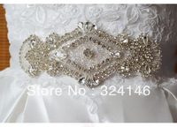 Free shipping new arrival extravagant handmade bridal belt flower crystal wedding dress accessiroes