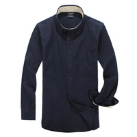 Autumn 100% male cotton long-sleeve shirt sanded thickening solid color fashion colored cotton shirt navy blue