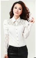 Free shipping Women long sleeve Conjoined Body Shirts For Women Chiffon lace blouse women Slim Sexy Puff Sleeve Chiffon shirt