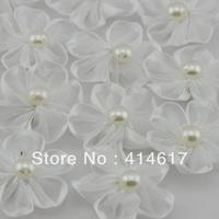 30pcs White Ribbon Flowers W/pearl Appliques Craft DIY Wedding Deco A0116-9