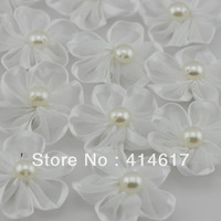 30pcs White Ribbon Flowers W/pearl Appliques Craft DIY Wedding Deco A0116-9