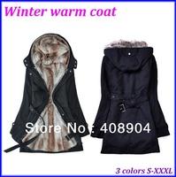 50pcs/Lot Wholesale Faux Fur Lining Women'S Fur Hoodies Ladies Coats Winter Warm Long Coat Jacket Clothes Size S-XXXL