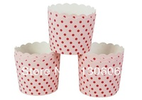 Free shipping 16Pcs high temperature baking mold pink red dot cups / high temperature glass / cake cups, oven with Soft