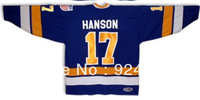 #17 Steve Hanson Brothers Charlestown Hockey Jersey Blue Slapshot Movie - Costom Any Number, Any Name Sewn On
