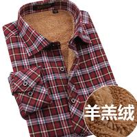 Male thermal shirt plus velvet sanded shirt black blue plaid thickening thermal shirt men's clothing