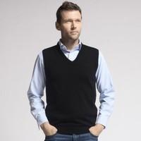 Trend men's clothing wool waistcoat male fashionable casual black men's vest sweater vest