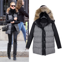 New 2013 winter fashion long-sleeve PU linen disassembly houndstooth with a hood wadded jacket cotton-padded jacket dropshipping