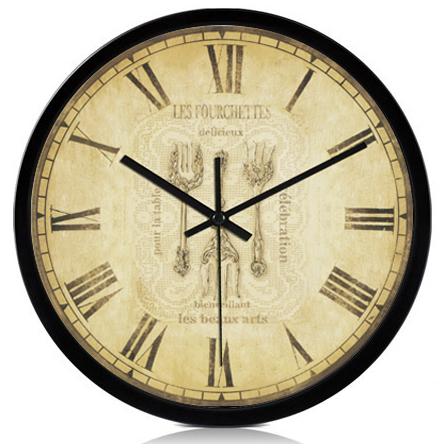 Vintage Fashion Large Clocks Mute Wall Clock Classic Rustic Round Black Bezel Decorative Roman Number Kitchen Wall Clock(China (Mainland))