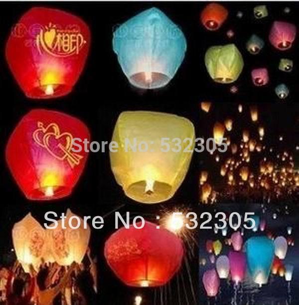10pcs/Lot Promotion Chinese Conventional Festival Balloon UFO Lamp Kongming Wishing Sky Lanterns Wedding Party Paper Lights(China (Mainland))