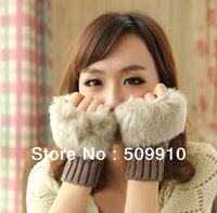 Fashion Winter Arm Warmer Fingerless Gloves Women Knitted Fur Trim Gloves Mitten 10pairs/lot free shipping