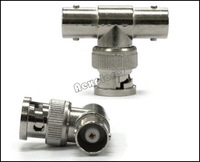 Free shipping BNC Male to 2 BNC Female T Connector Coaxial RG59 RG58 Splitter Adapter Lot 50pcs/Lot KA2C09